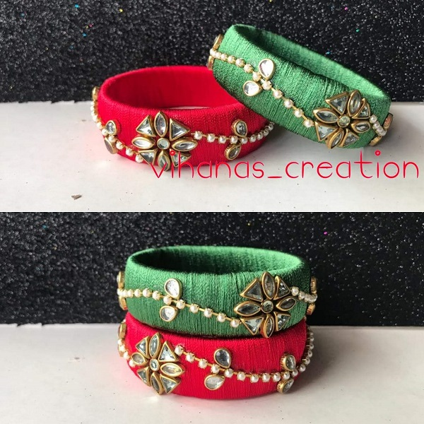 Red Green Silk Thread Bangles With Work