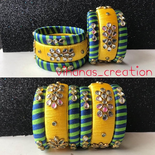 Blue Yellow Silk Thread Bangles With Work
