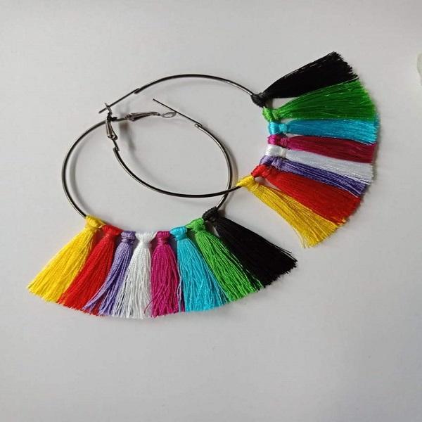 Multicolor Tassel Style Loop Earrings