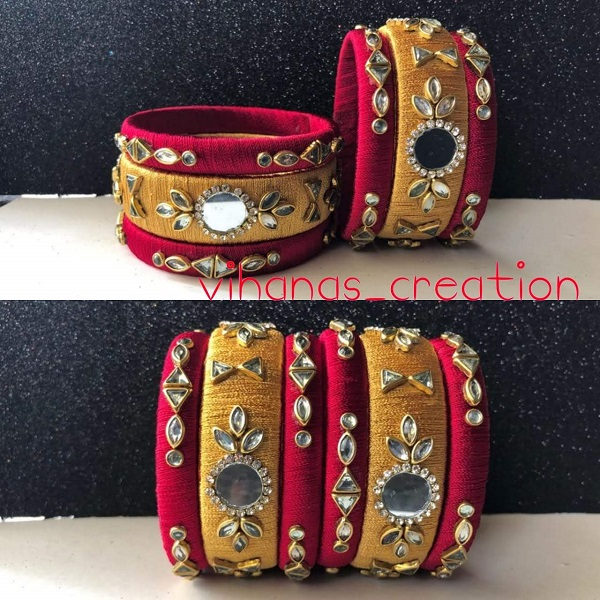 Red And Brown Silk Thread Bangles With Work