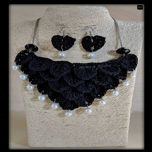Black crochet necklace and earrings