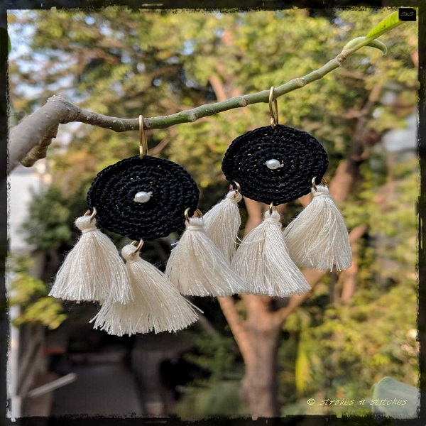 Black and white crochet earrings