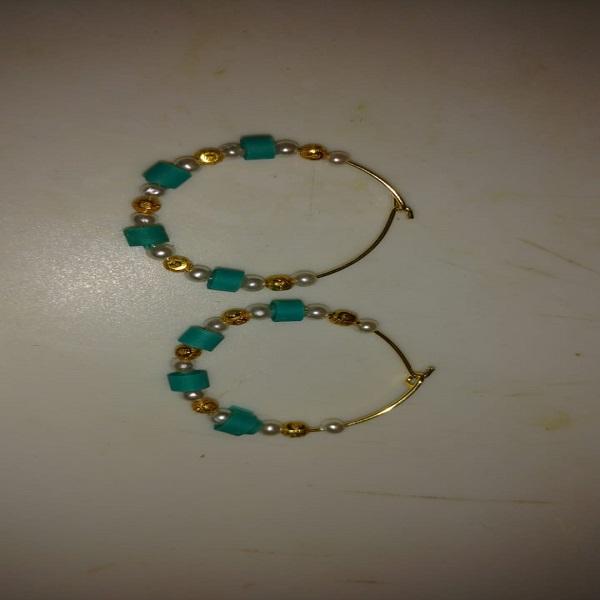 Blue With Pearls Loop Earrings
