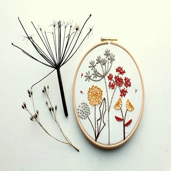 autumnal floral embroidery