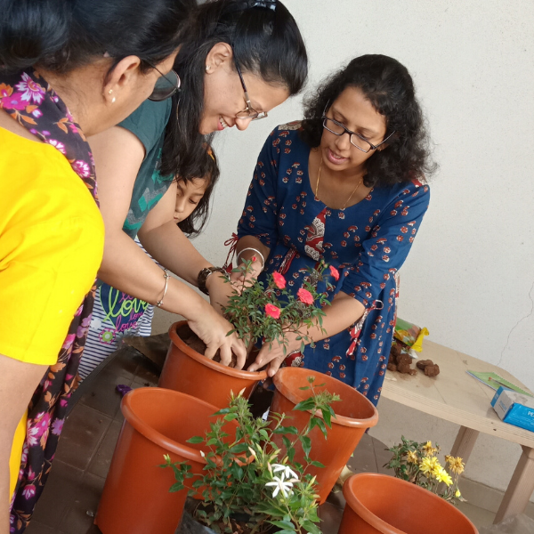 Reema explaining about gardening