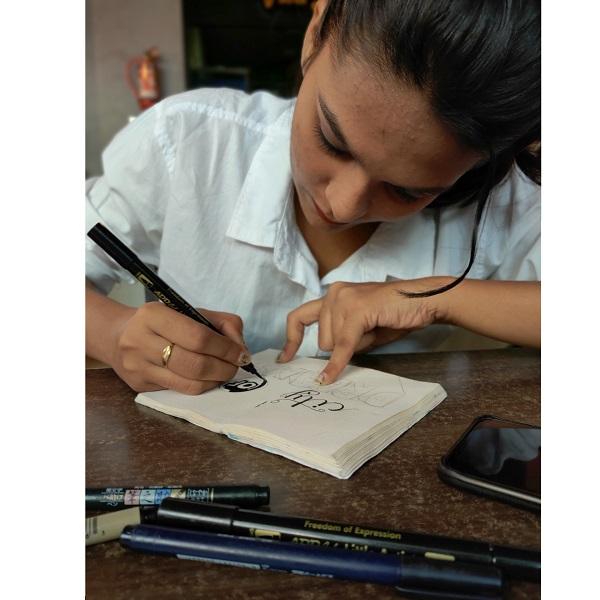 Anupriya doing doodle
