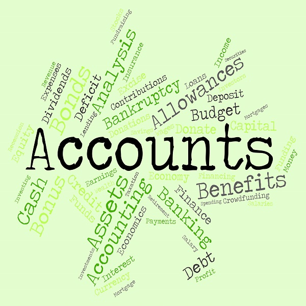 Accounts Words Indicates Balancing The Books And Accounting | Bulb And Key