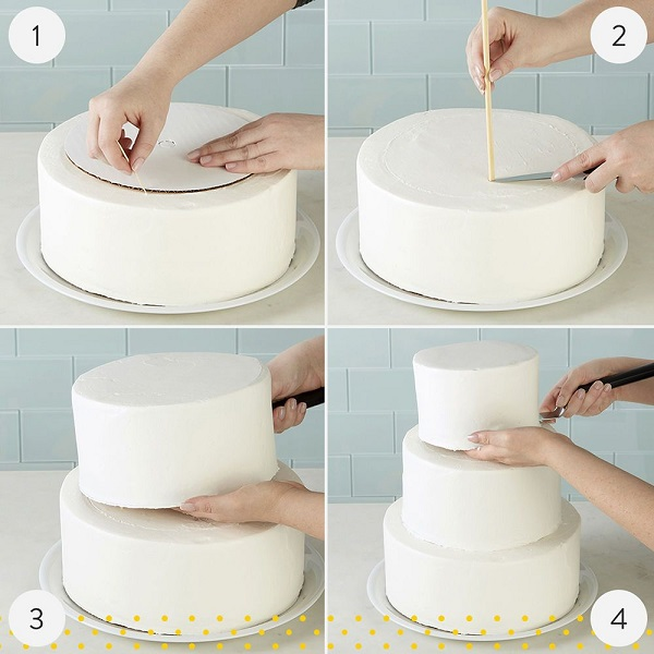 Stack the tiers of cake and decorate them