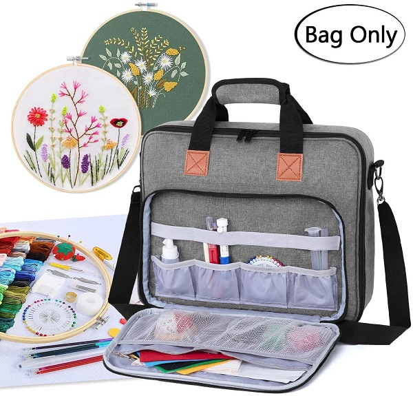 Organizing cross stitch travel bag