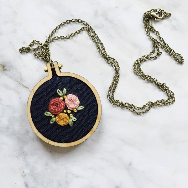 Metal Embroidery Frame Pendant